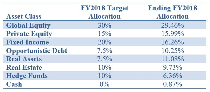 Fiscal Year 2019 Asset Allocation Chart