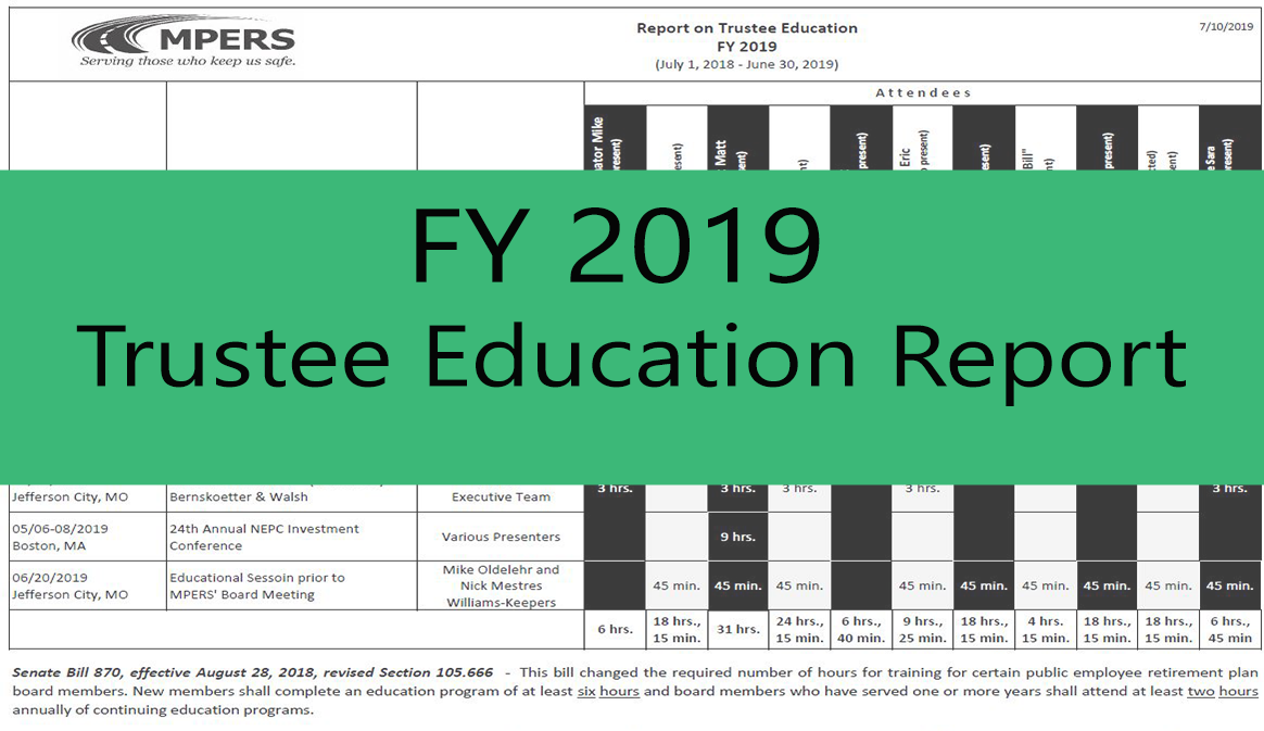 Fiscal Year 2018 Trustee Education Report