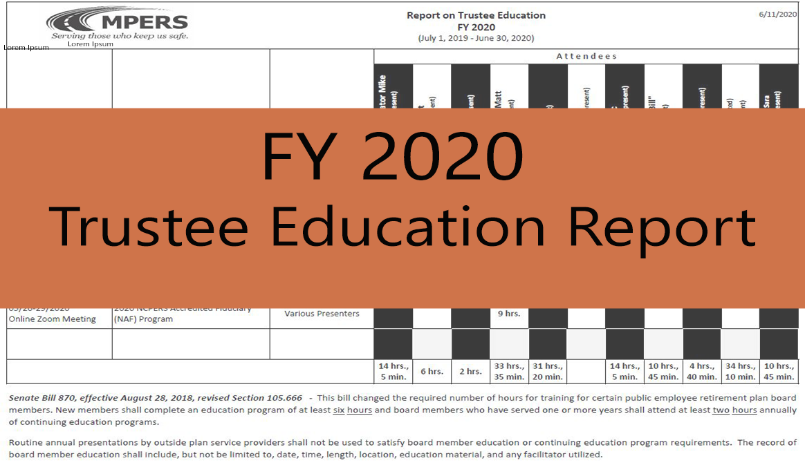 Trustee Education Report Fiscal Year 2020