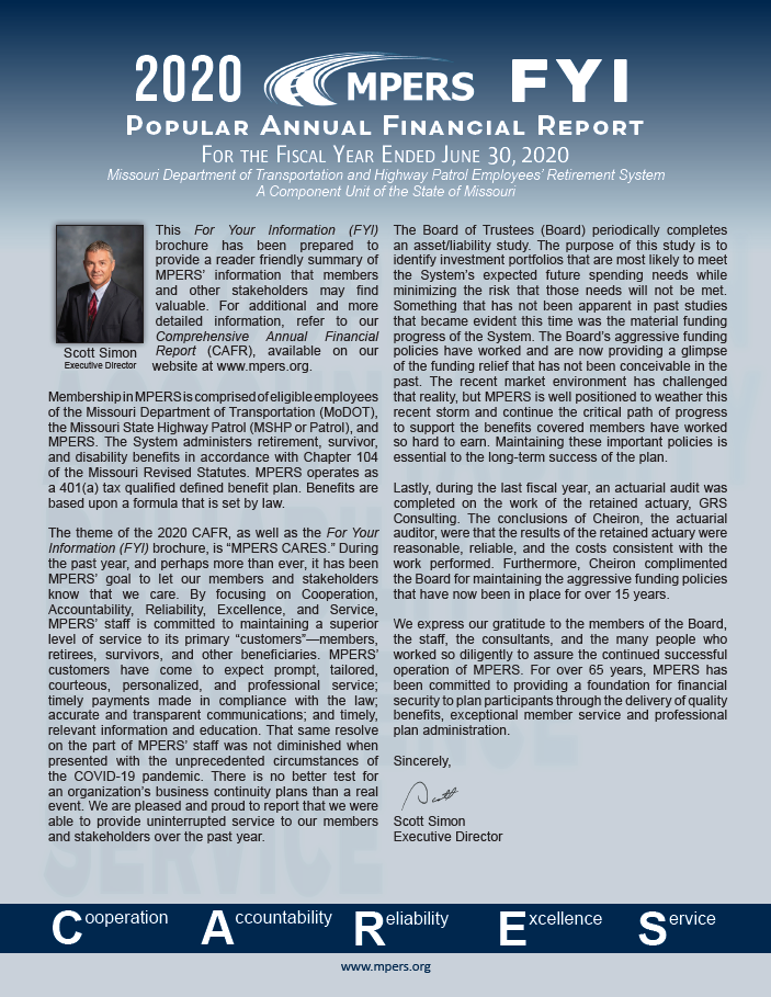 Fiscal Year 2020 MPERS FYI-Popular Annual Financial Report